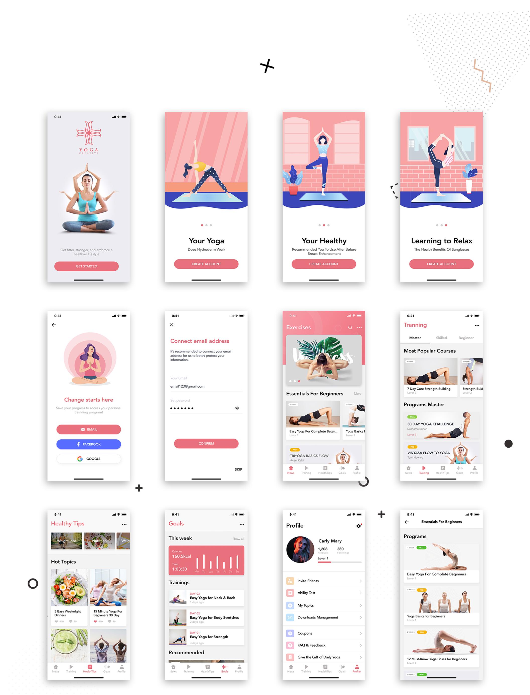 瑜伽健身应用程序APP界面设计UI套件 Yoga Fitness Mobile App UI Kit插图(4)