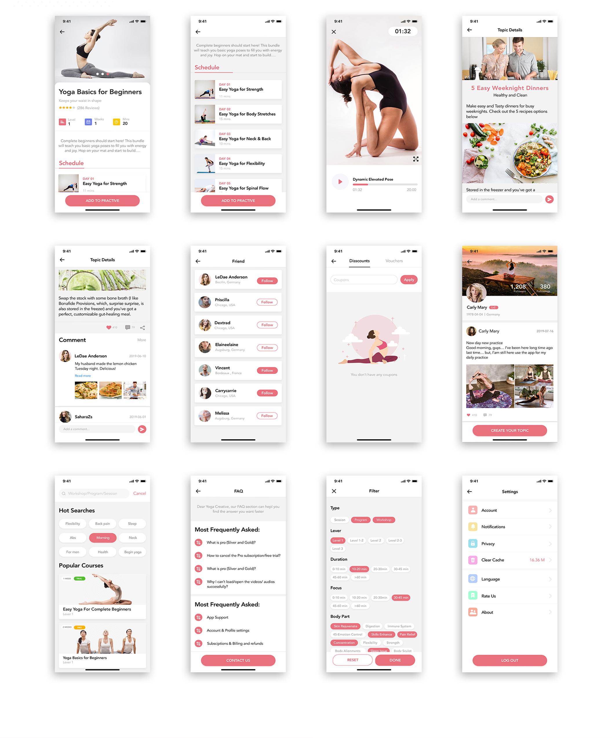 瑜伽健身应用程序APP界面设计UI套件 Yoga Fitness Mobile App UI Kit插图(5)