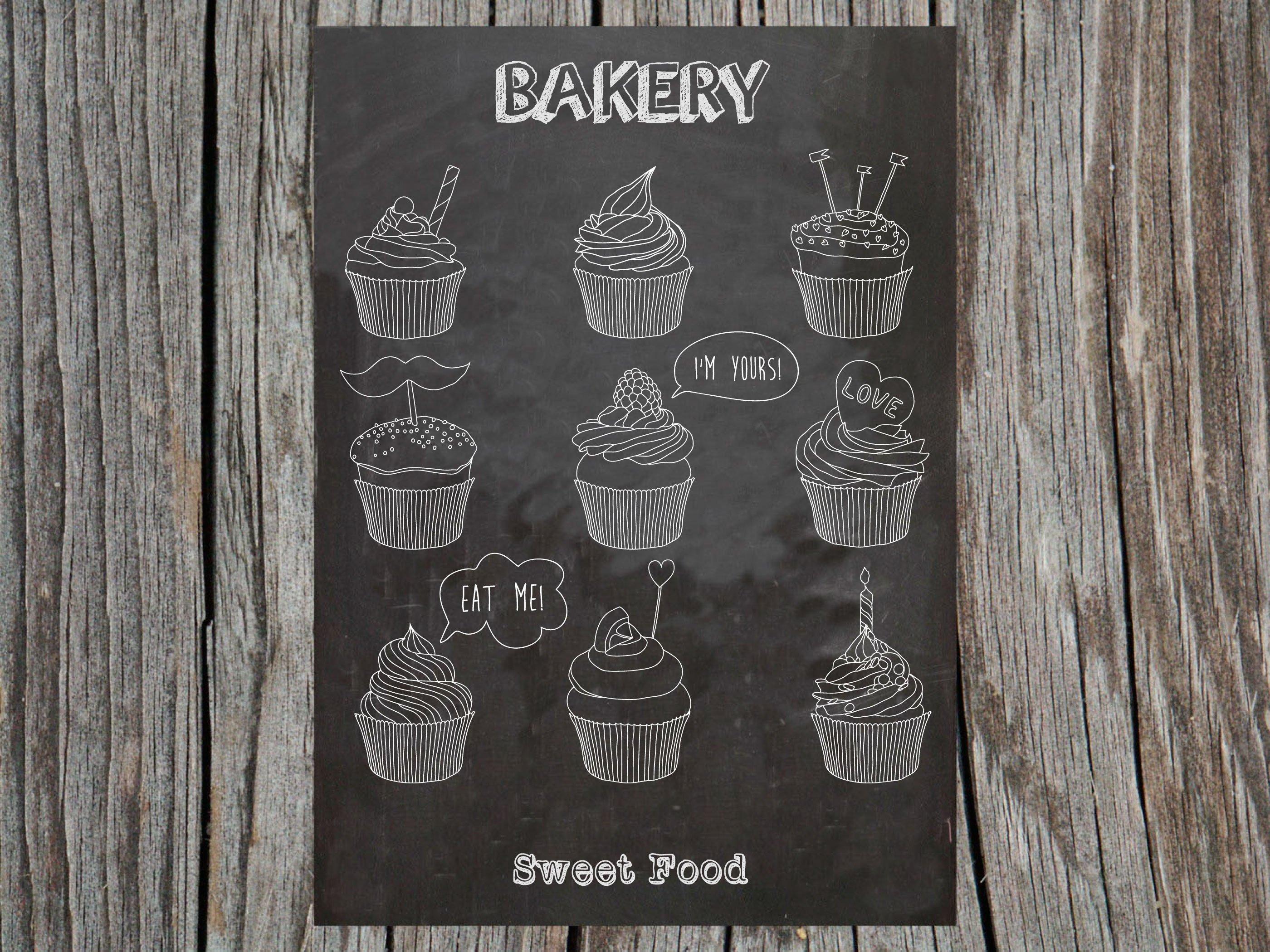 手绘纸杯蛋糕矢量素材 Сupcakes Patterns And Illustration插图