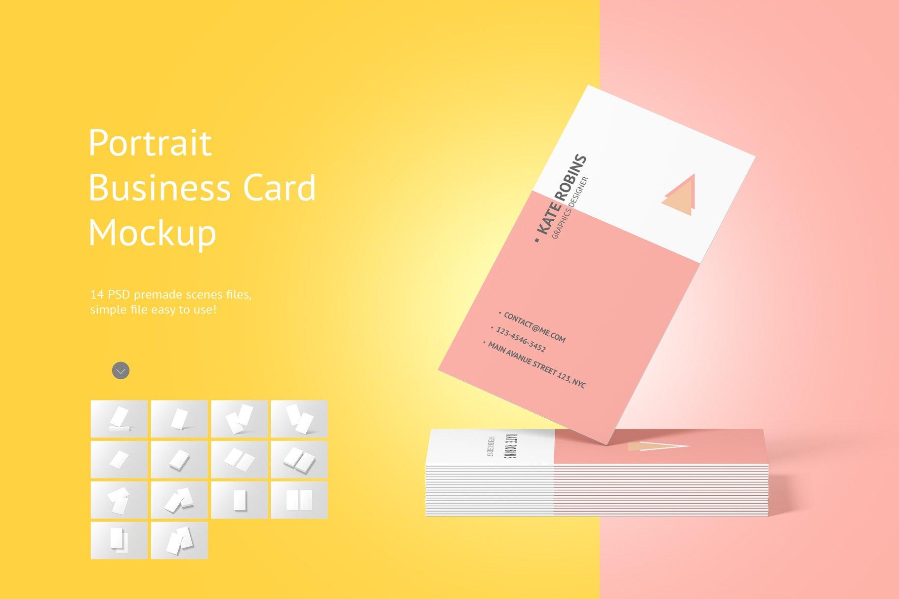 14款商务个人名片卡片设计展示样机 Portrait Business Card Mockup插图