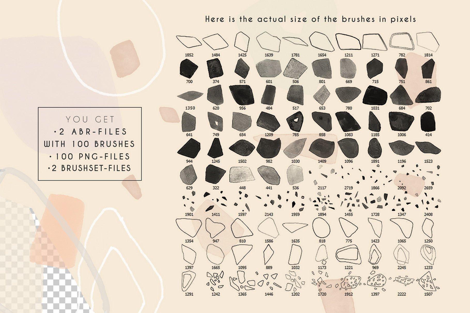 100款现代抽象石头几何图案PS水彩印章笔刷 Terrazzo Photoshop Brushes插图(1)