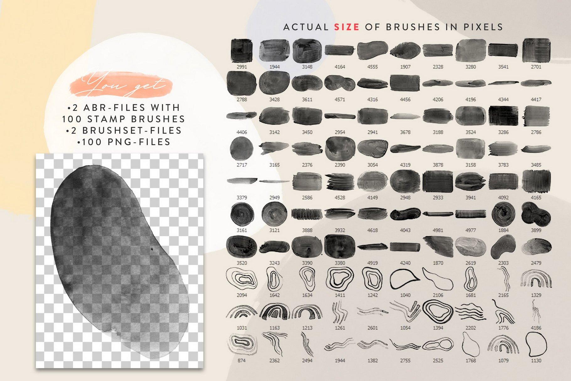 100款手绘水粉水彩丙烯酸Procreate笔刷 Tectonic Procreate Brushes插图(4)