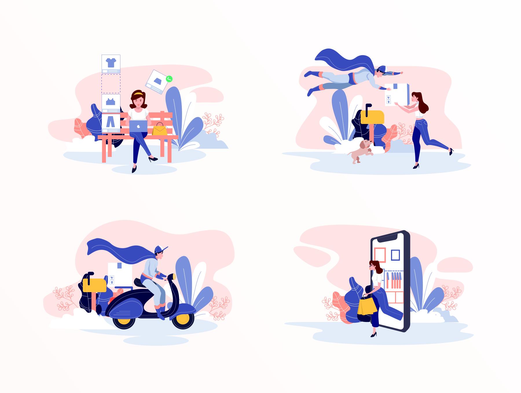 时尚购物商城2.5D矢量概念插画 Lunas : E-commerce Illustration Kit插图(5)