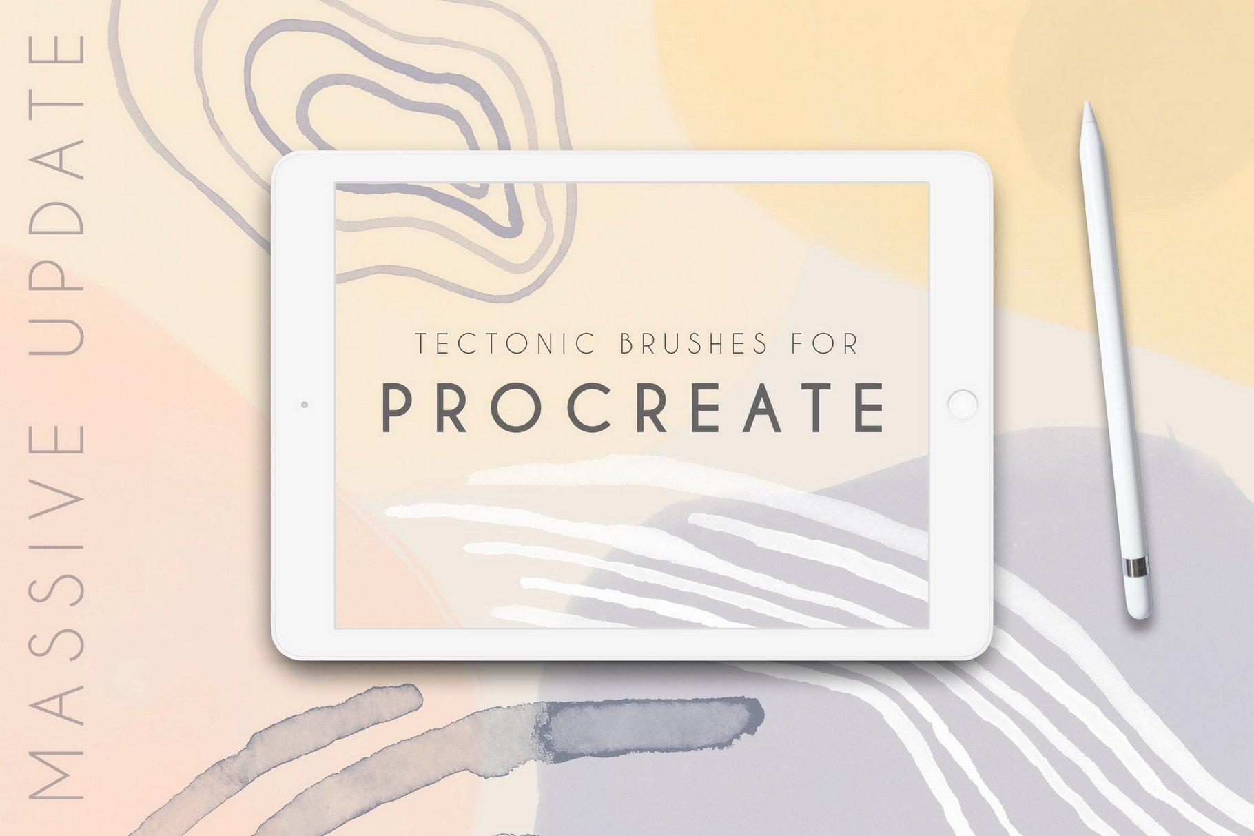 100款手绘水粉水彩丙烯酸Procreate笔刷 Tectonic Procreate Brushes插图(7)