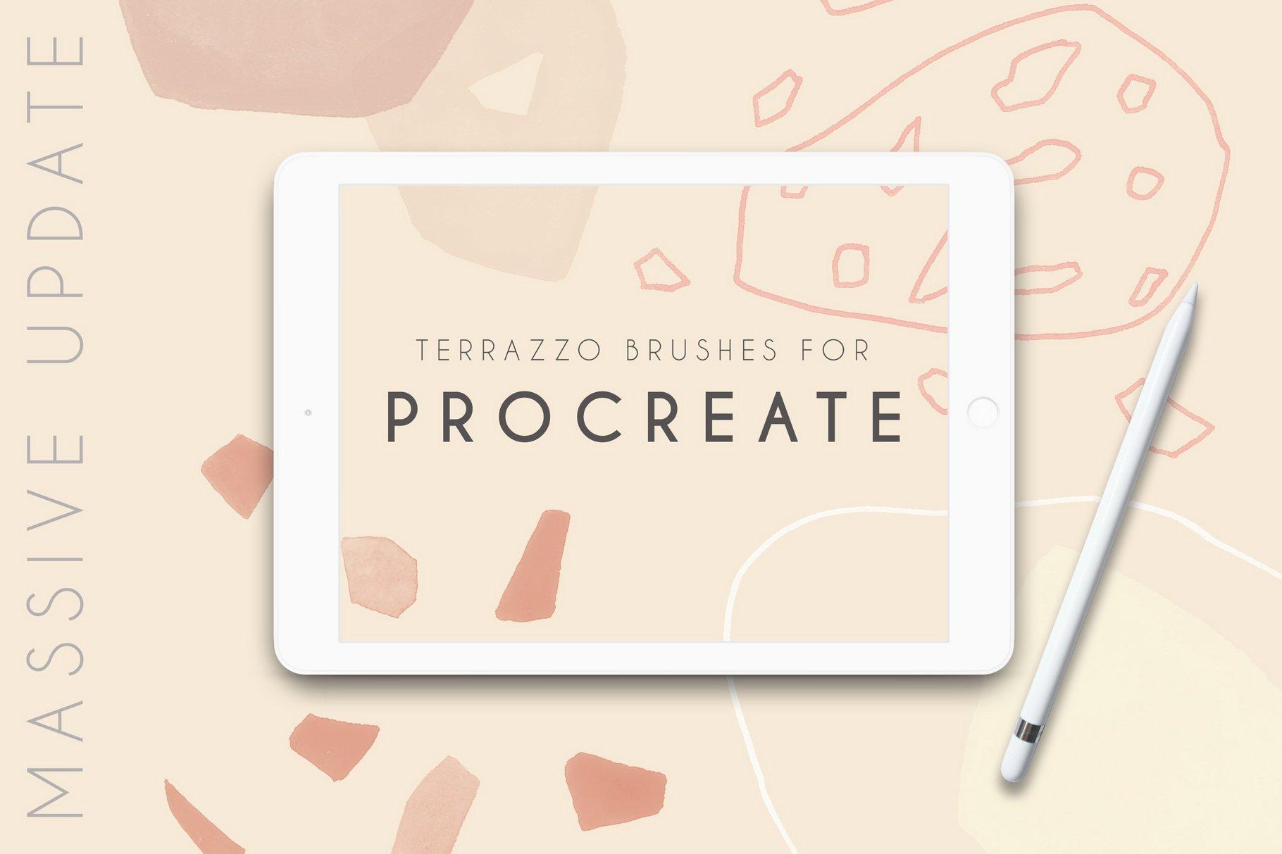 100款现代抽象石头几何图案Procreate水彩印章笔刷 Terrazzo Procreate Brushes插图(3)