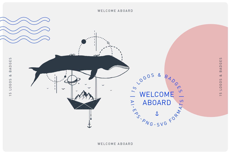 15款现代潮流徽标LOGO设计AI矢量模板 Welcome Aboard. 15 Logos & Badges插图