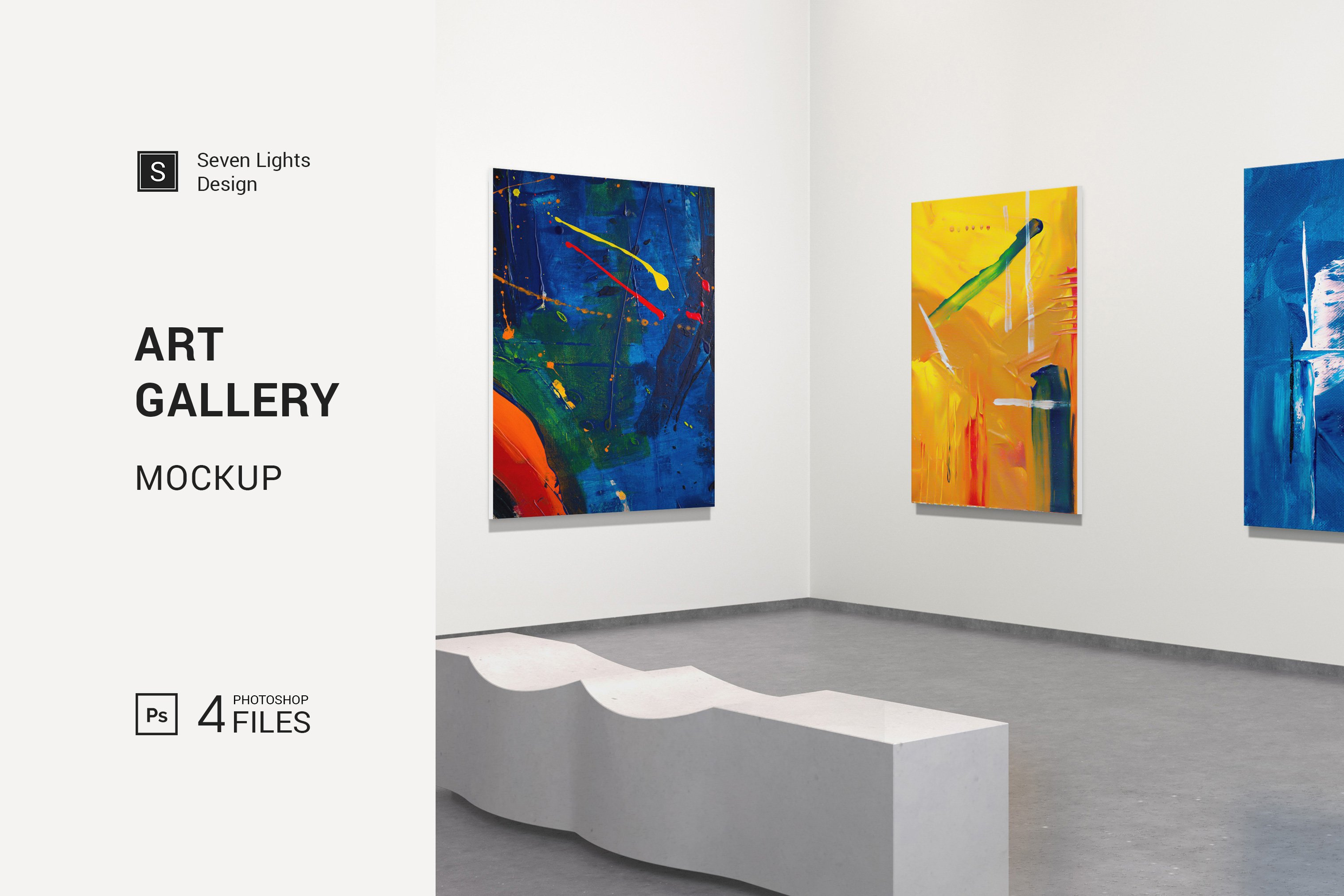 美术馆绘画艺术品相片展示样机模板 Art Gallery Mockup插图