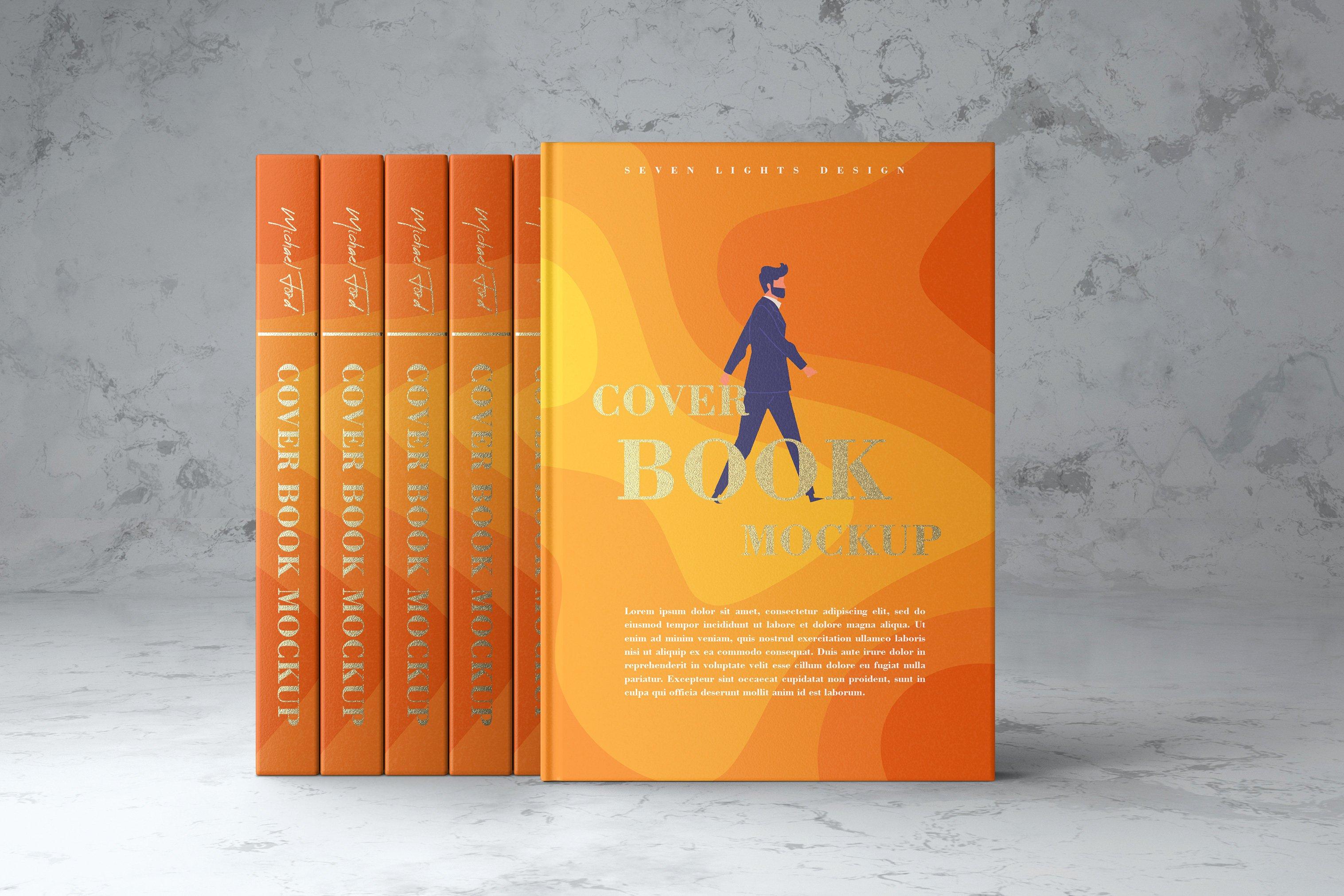 7款精装书封面设计展示样机模板集 Book Cover Mockup Set插图(1)