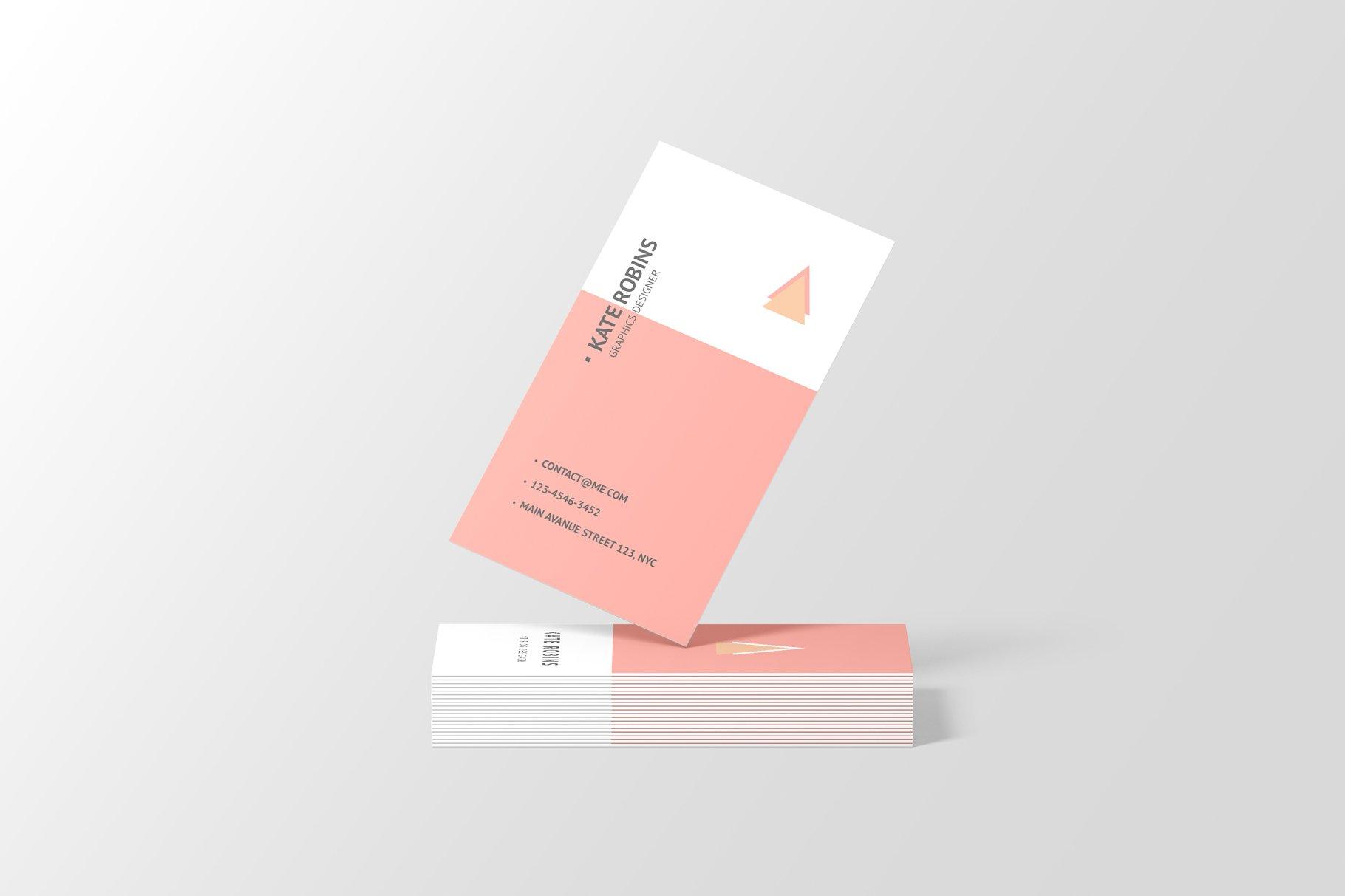 14款商务个人名片卡片设计展示样机 Portrait Business Card Mockup插图(1)