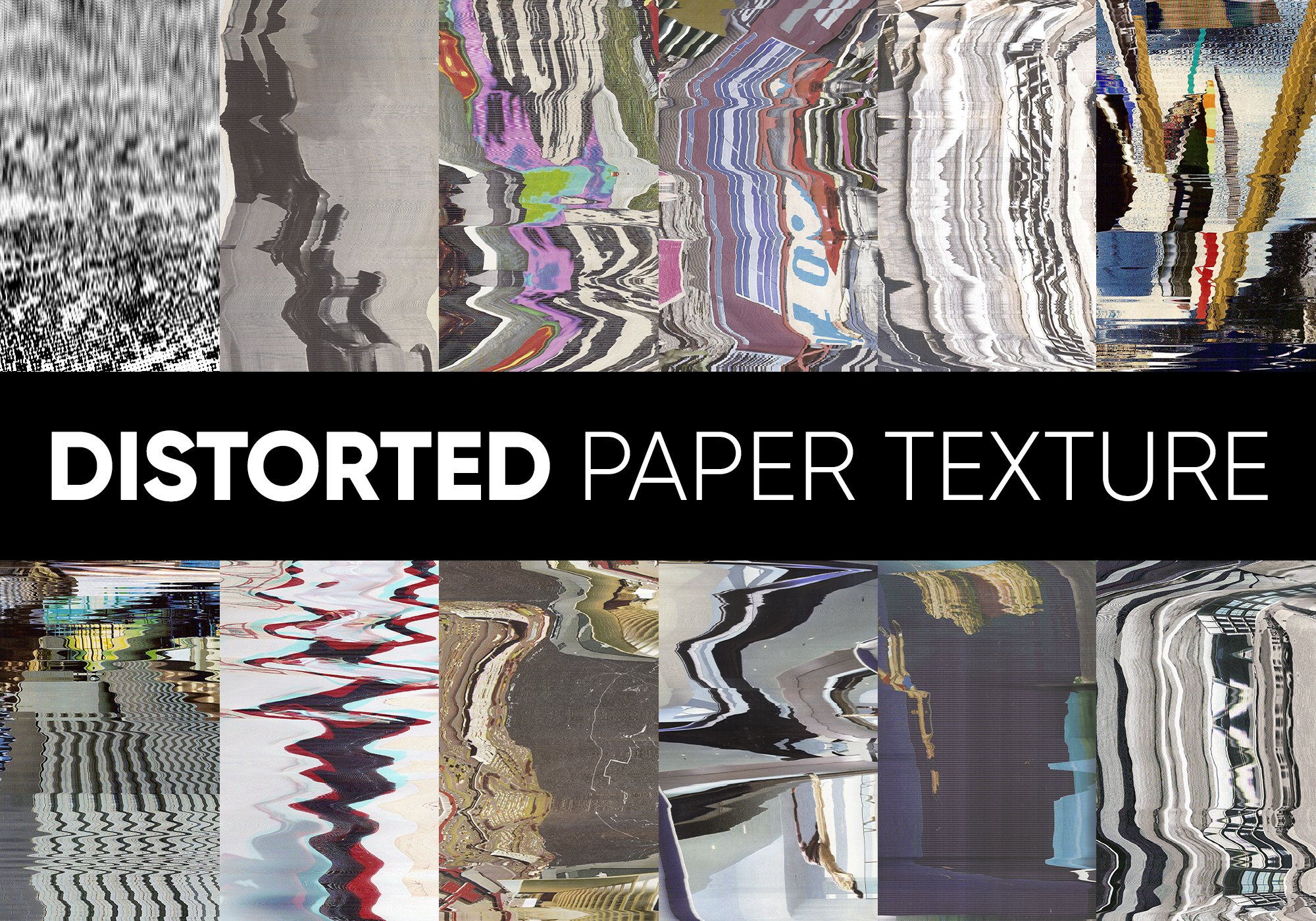 62款高清抽象故障风广告海报设计背景纹理PNG图片素材 Distorted Paper Texture插图