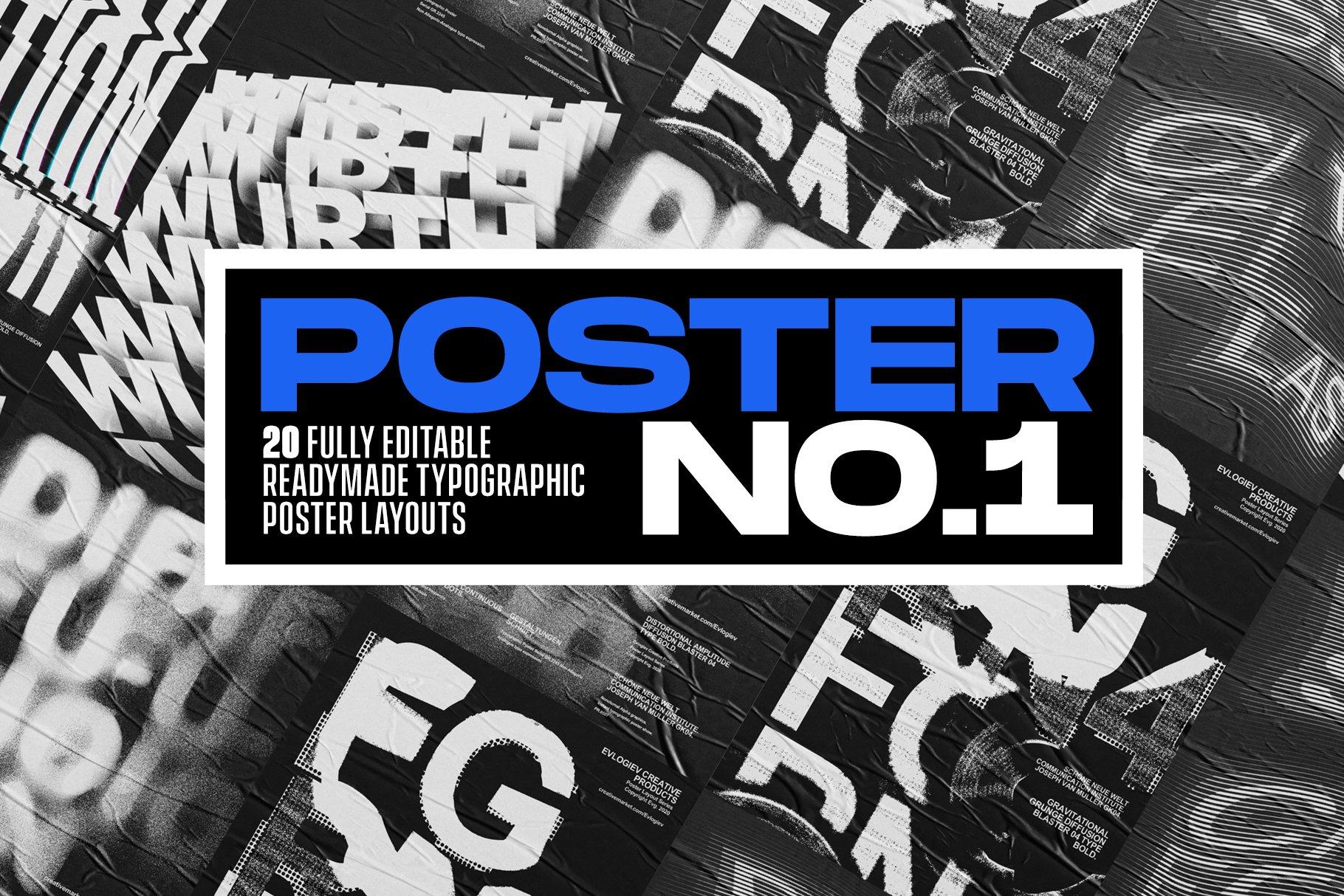 20款创意抽象主视觉海报标题特效字体设计智能贴图样机模板 Typographic Poster Layouts No.01插图