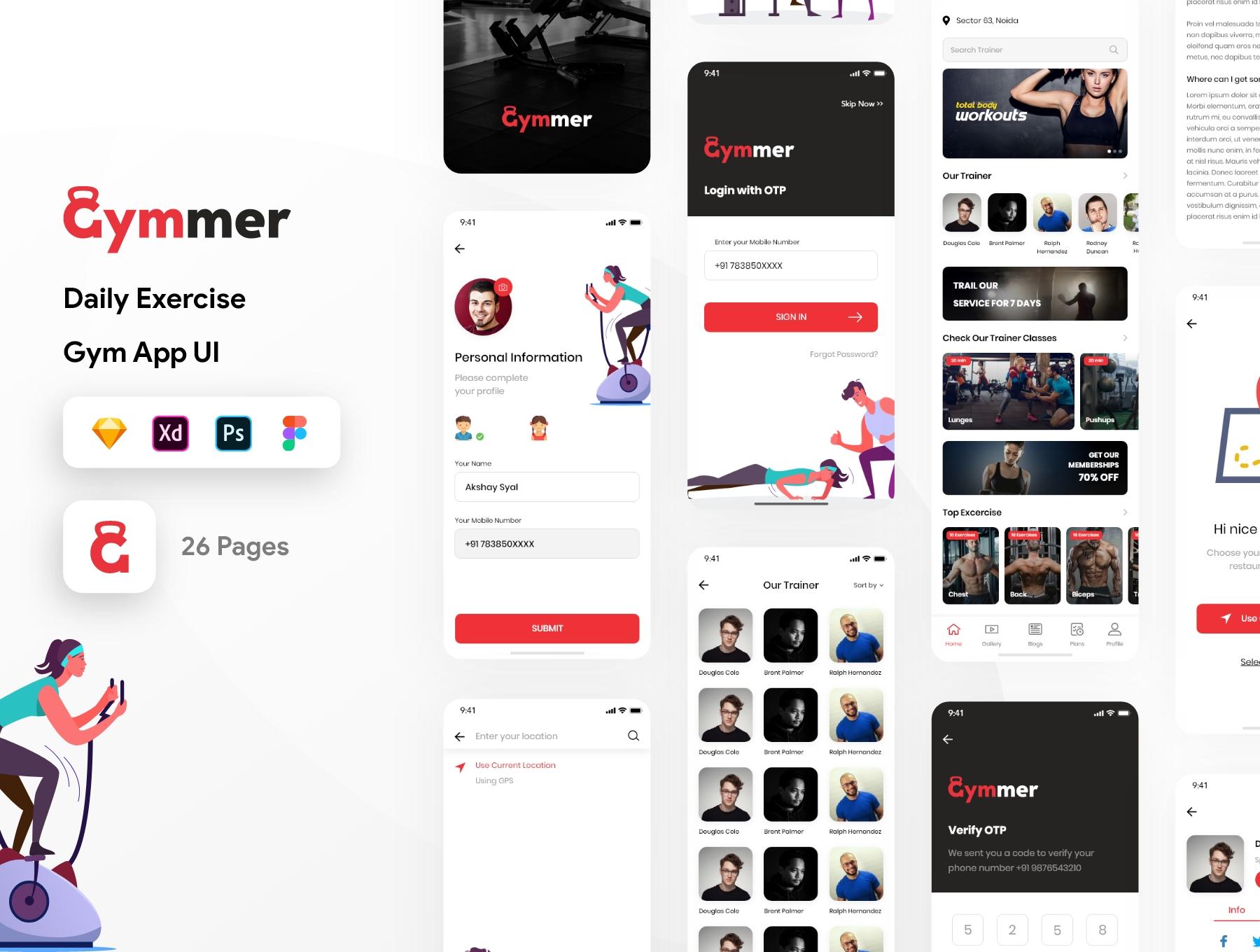 体育锻炼健身应用程序APP UI套件 Gymmer UI Kit插图