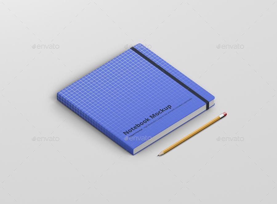 8款正方形笔记本设计展示样机模板 Notebook Mockup Square Format插图