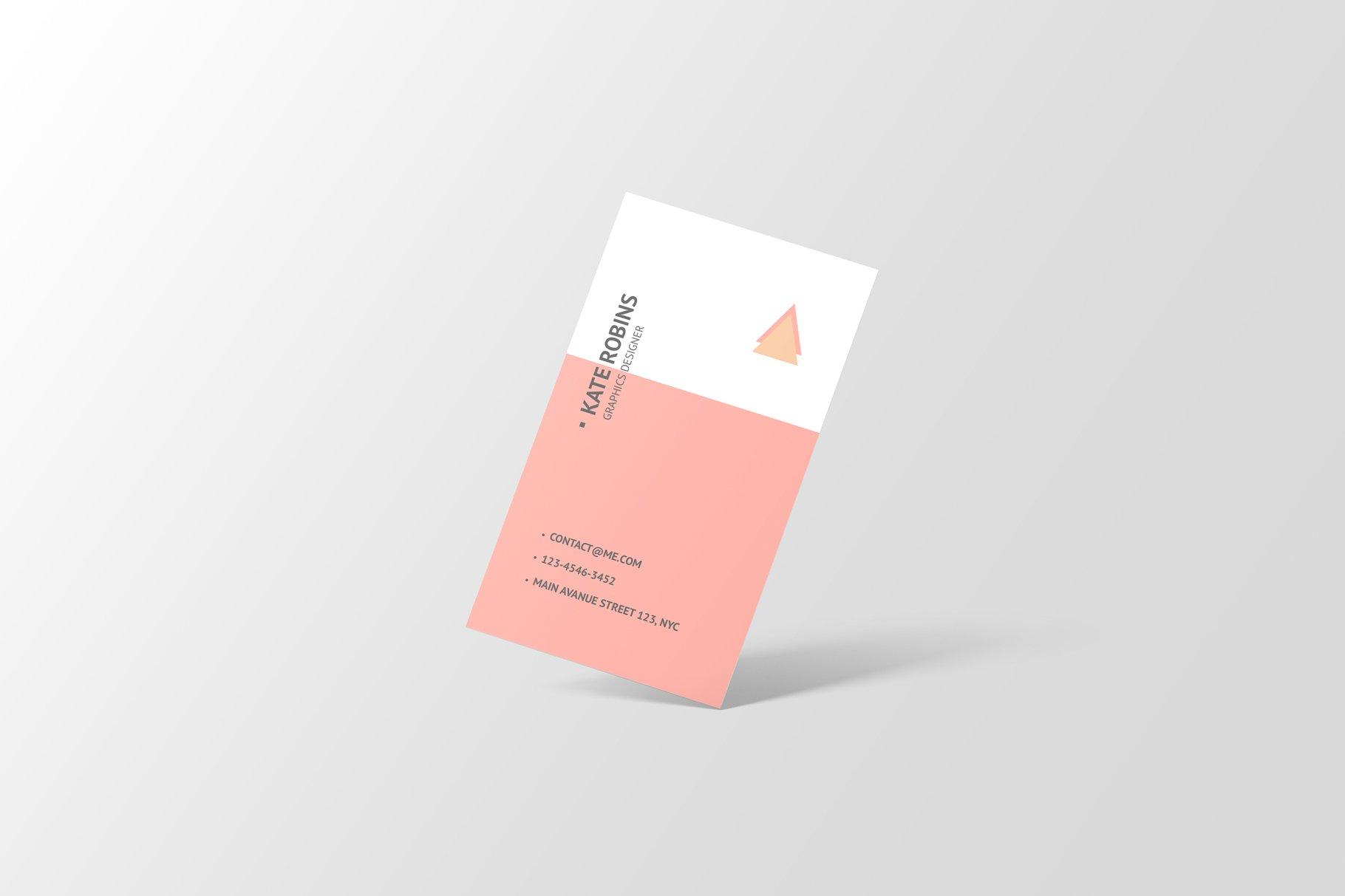 14款商务个人名片卡片设计展示样机 Portrait Business Card Mockup插图(2)