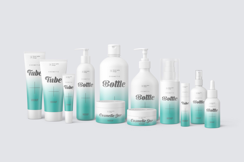 13款化妆品包装瓶设计展示样机模板 Cosmetic Mockup Set插图