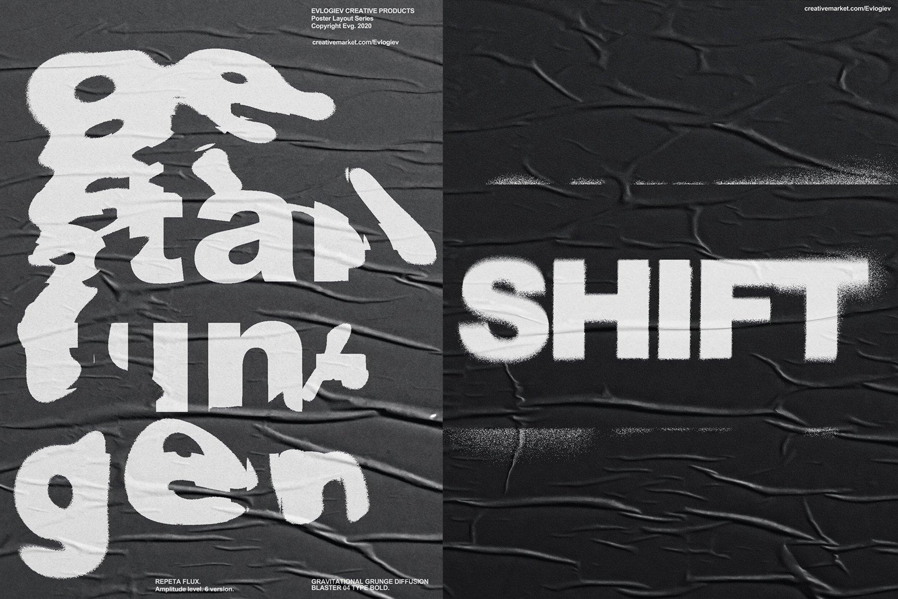20款创意抽象主视觉海报标题特效字体设计智能贴图样机模板 Typographic Poster Layouts No.01插图(1)
