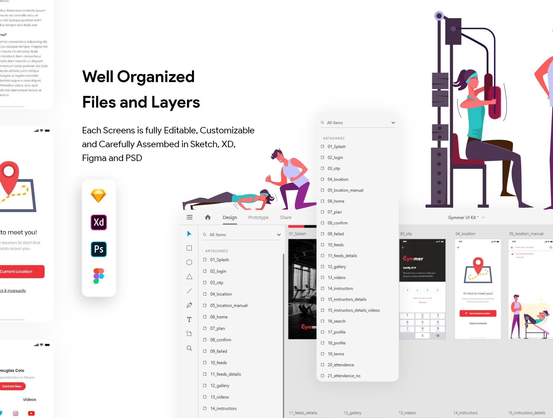 体育锻炼健身应用程序APP UI套件 Gymmer UI Kit插图(1)