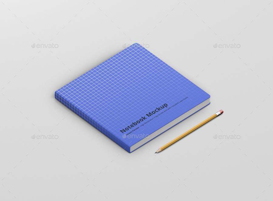 8款正方形笔记本设计展示样机模板 Notebook Mockup Square Format插图(1)