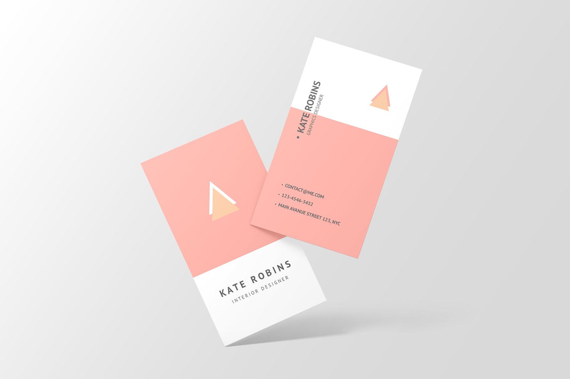 14款商务个人名片卡片设计展示样机 Portrait Business Card Mockup插图(3)
