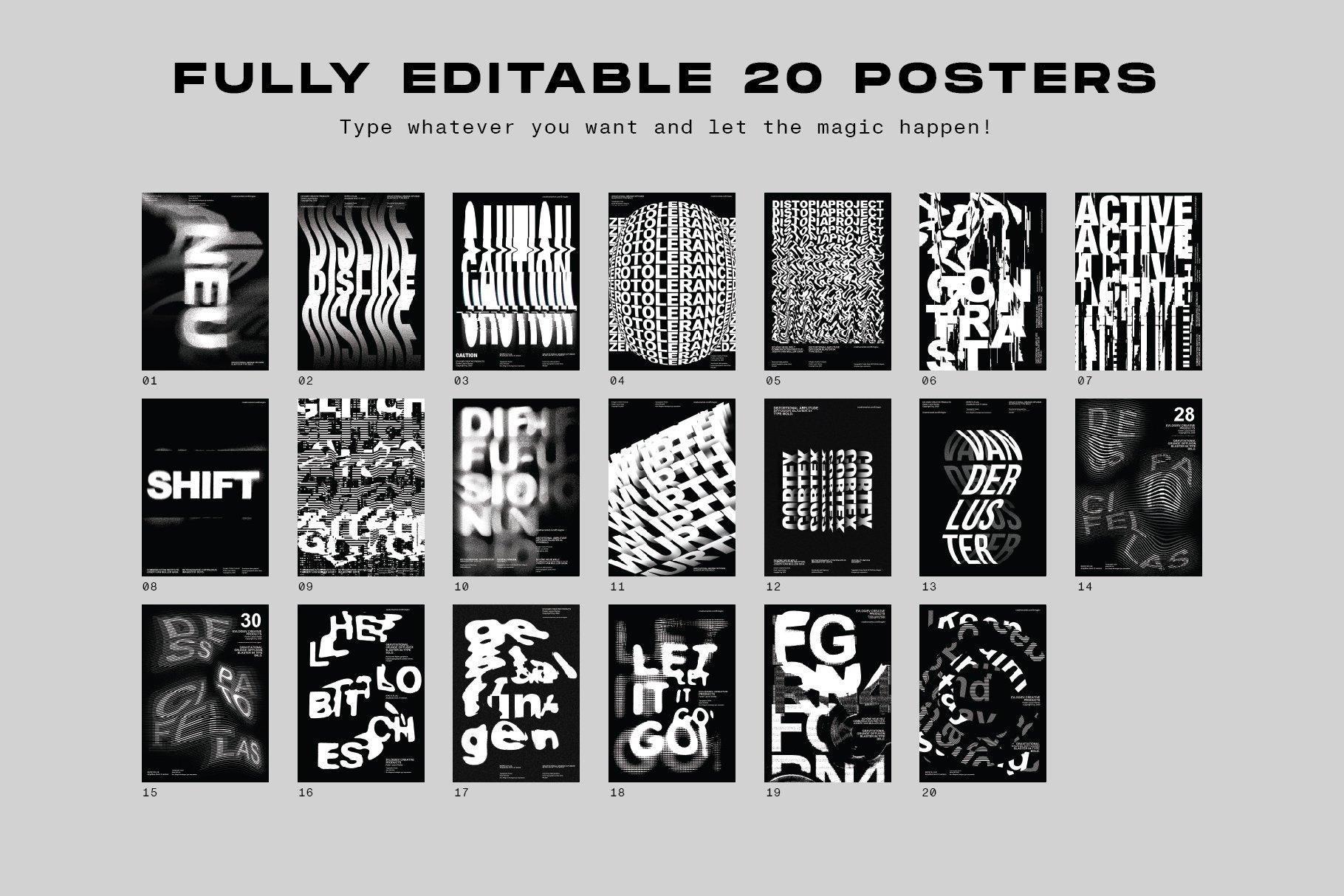 20款创意抽象主视觉海报标题特效字体设计智能贴图样机模板 Typographic Poster Layouts No.01插图(2)