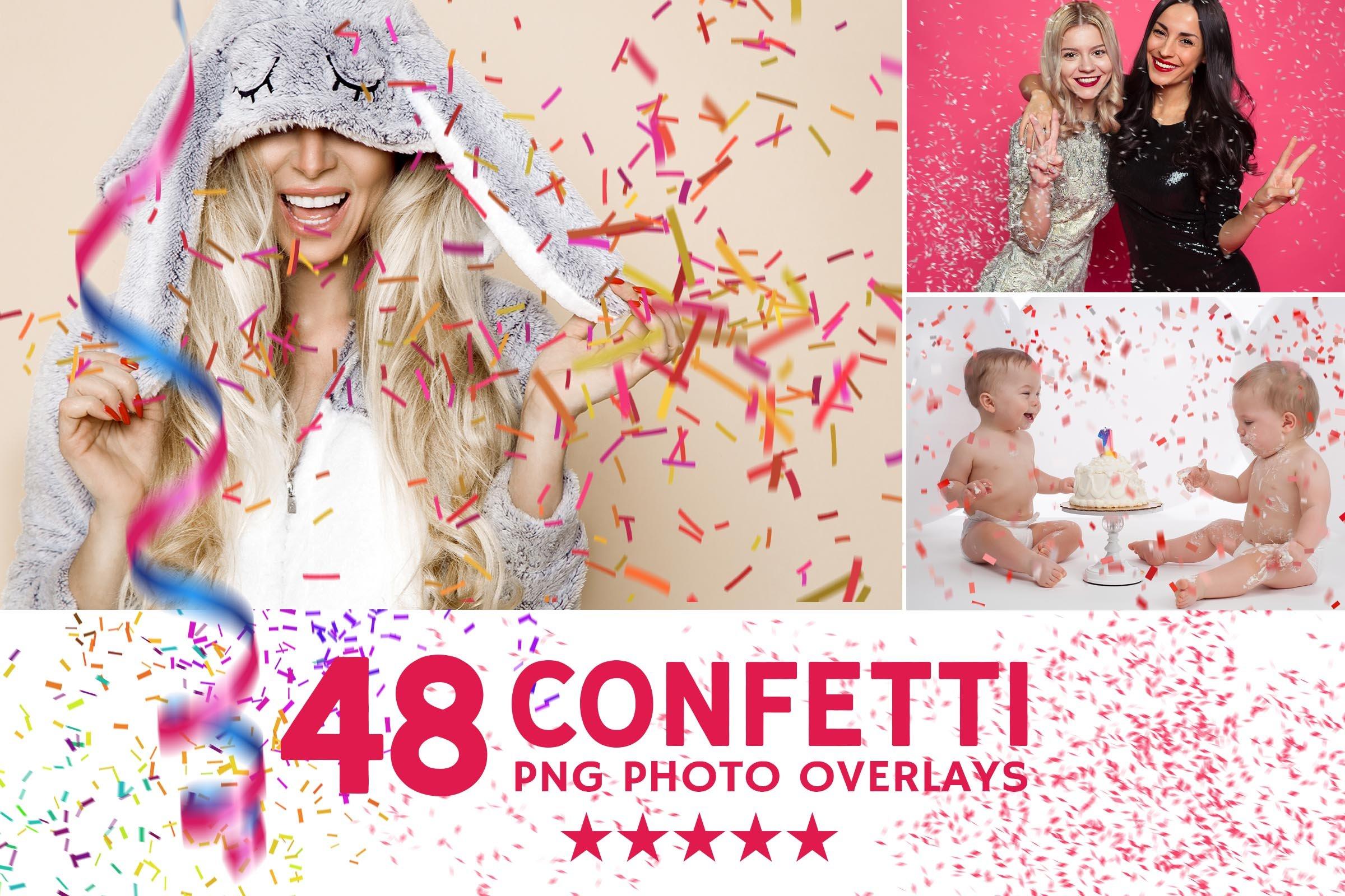 48个高清五彩纸屑照片叠加层PNG图片素材 48+ Confetti Photo Overlays插图