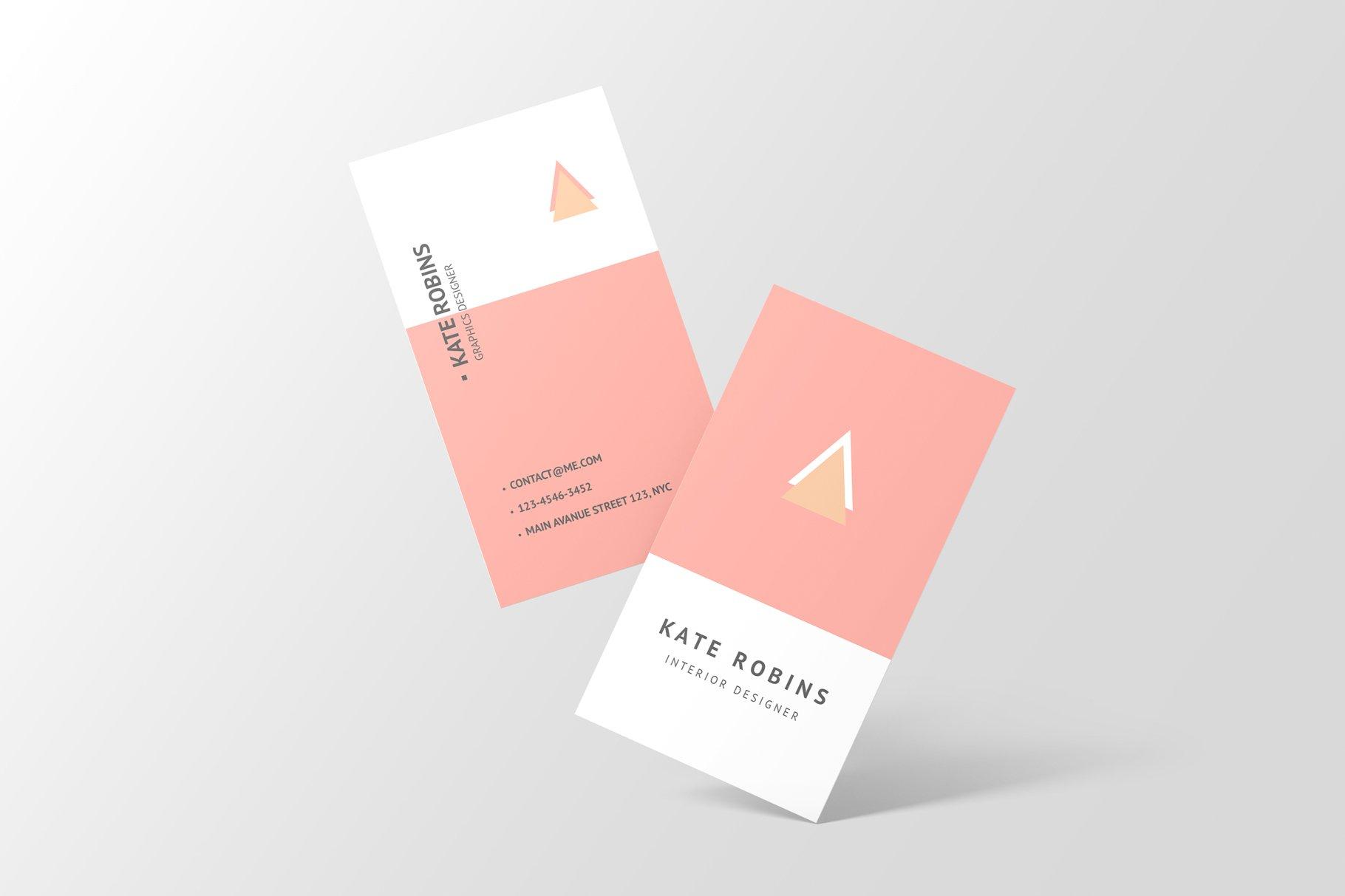 14款商务个人名片卡片设计展示样机 Portrait Business Card Mockup插图(4)