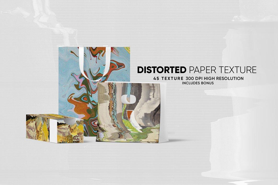 62款高清抽象故障风广告海报设计背景纹理PNG图片素材 Distorted Paper Texture插图(3)