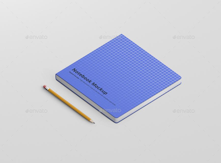 8款正方形笔记本设计展示样机模板 Notebook Mockup Square Format插图(3)