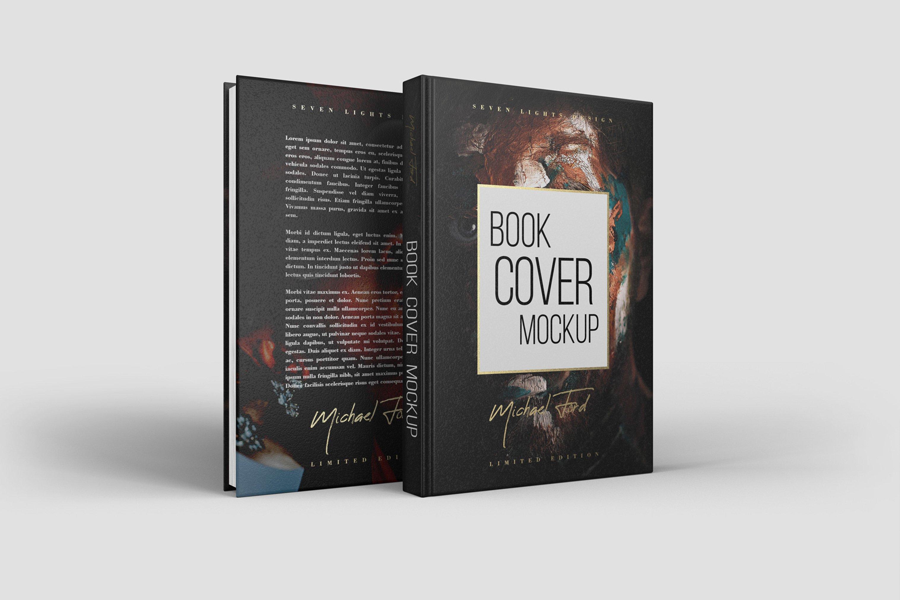 7款精装书封面设计展示样机模板集 Book Cover Mockup Set插图(5)