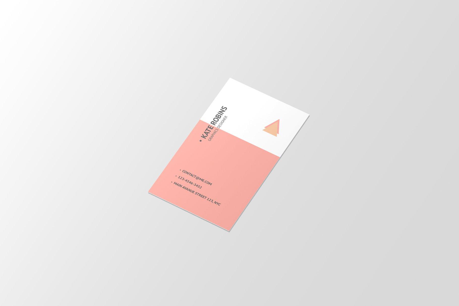 14款商务个人名片卡片设计展示样机 Portrait Business Card Mockup插图(5)