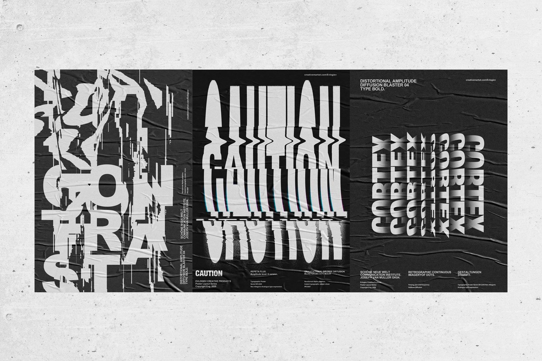 20款创意抽象主视觉海报标题特效字体设计智能贴图样机模板 Typographic Poster Layouts No.01插图(4)