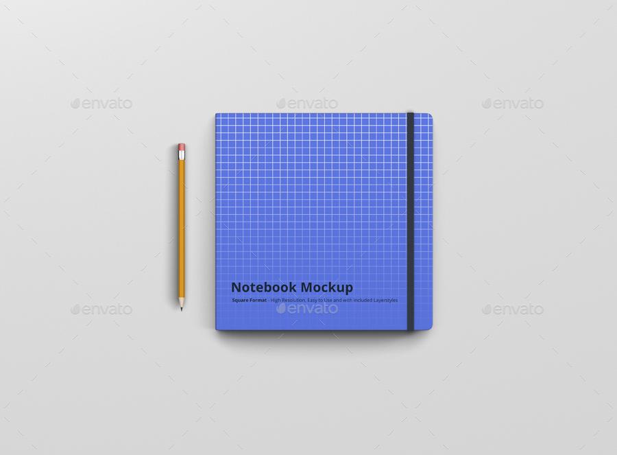 8款正方形笔记本设计展示样机模板 Notebook Mockup Square Format插图(4)