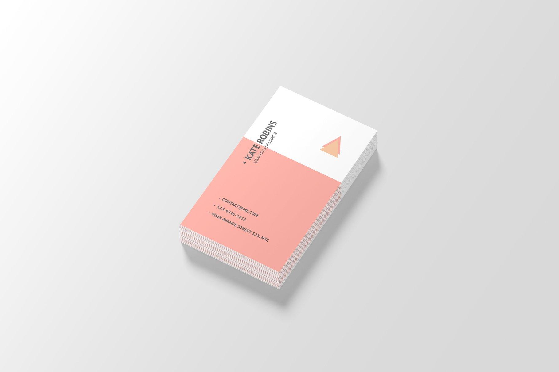 14款商务个人名片卡片设计展示样机 Portrait Business Card Mockup插图(6)