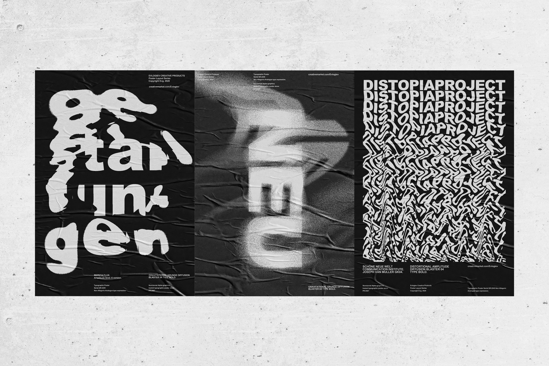 20款创意抽象主视觉海报标题特效字体设计智能贴图样机模板 Typographic Poster Layouts No.01插图(5)
