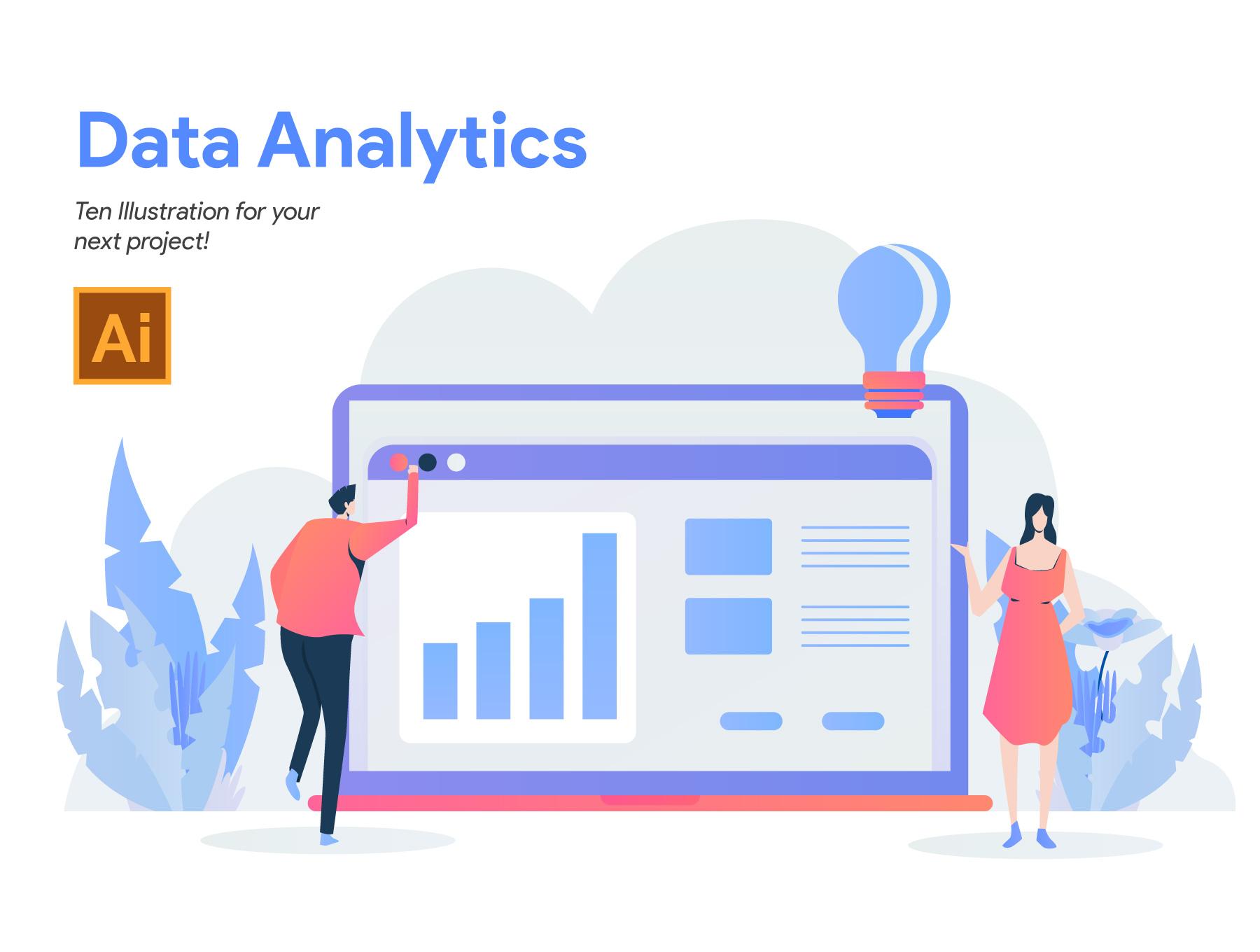 10款数据分析2.5D矢量概念插画素材 Data Analytics Illustration插图