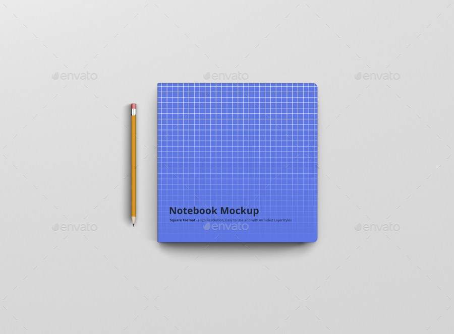 8款正方形笔记本设计展示样机模板 Notebook Mockup Square Format插图(5)