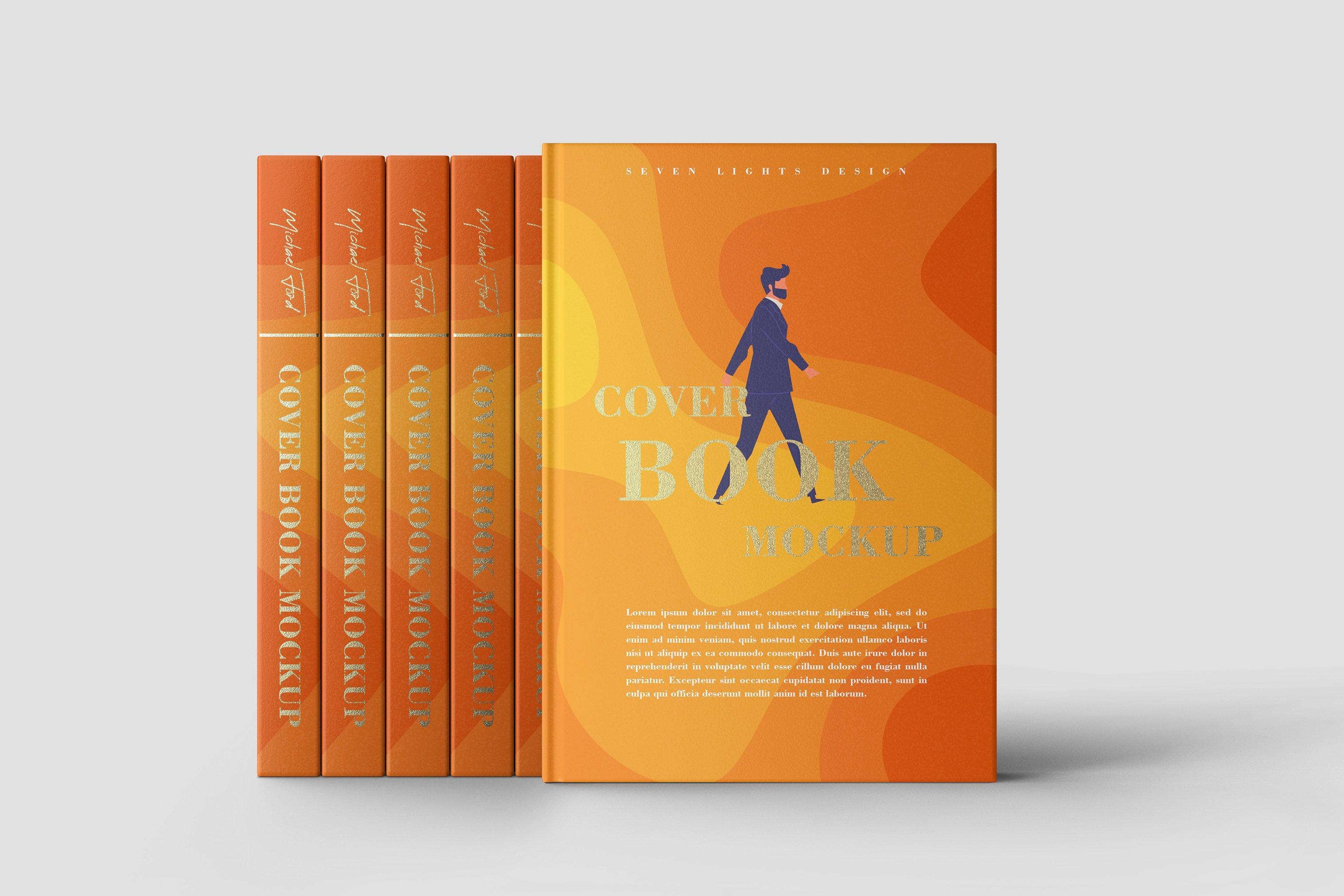 7款精装书封面设计展示样机模板集 Book Cover Mockup Set插图(7)