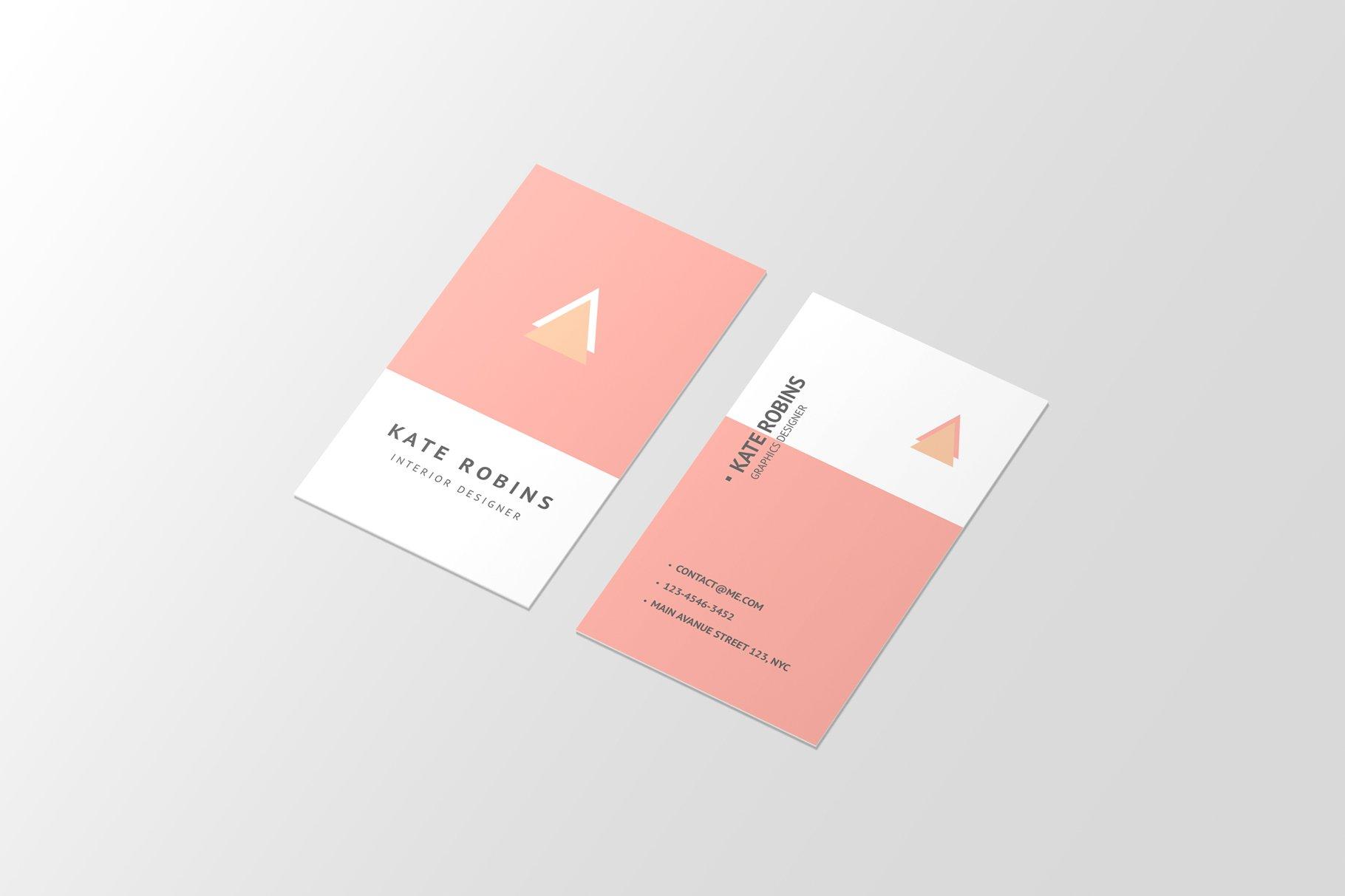 14款商务个人名片卡片设计展示样机 Portrait Business Card Mockup插图(7)