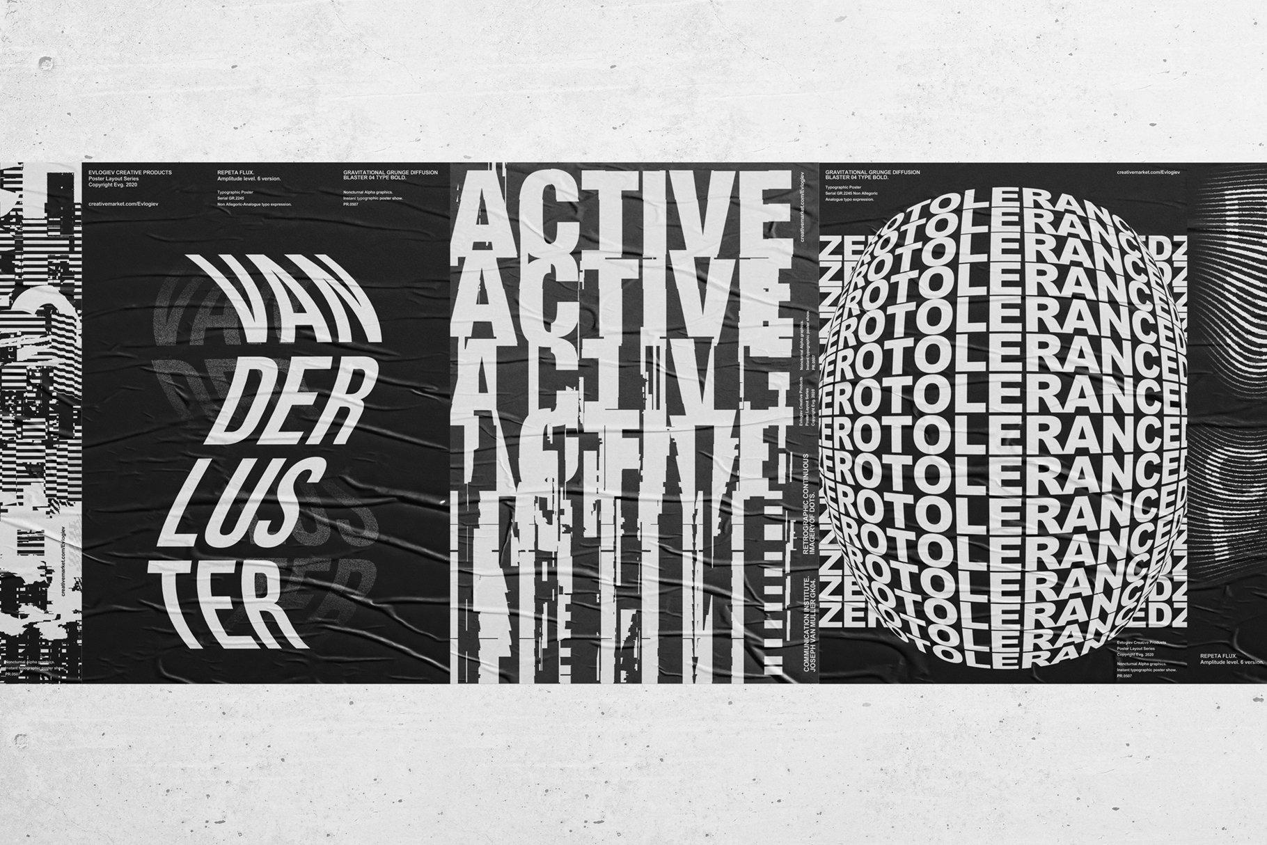 20款创意抽象主视觉海报标题特效字体设计智能贴图样机模板 Typographic Poster Layouts No.01插图(6)