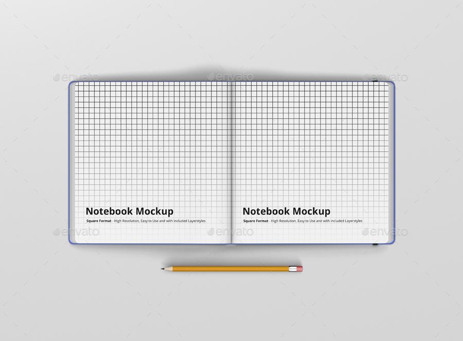 8款正方形笔记本设计展示样机模板 Notebook Mockup Square Format插图(6)