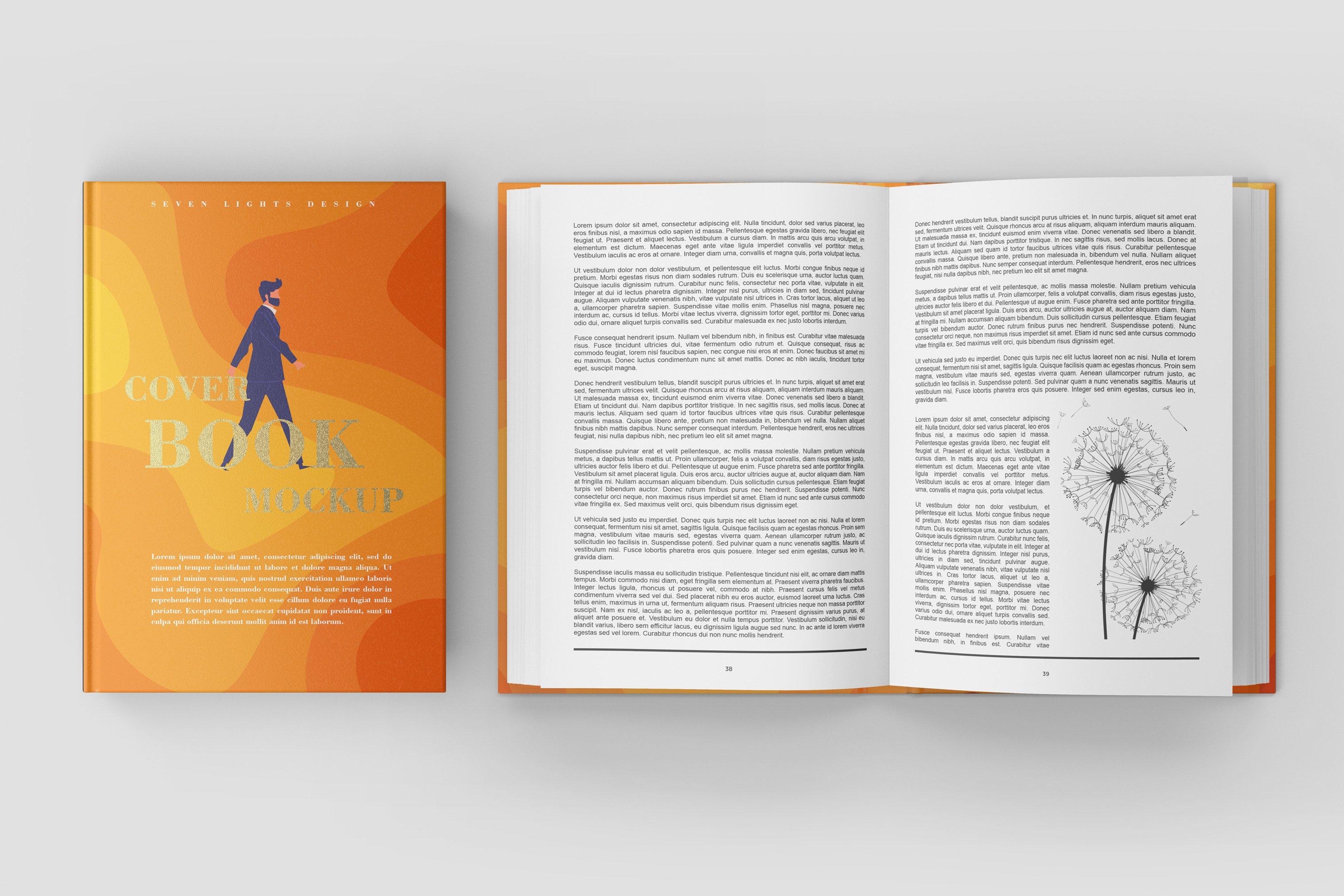 7款精装书封面设计展示样机模板集 Book Cover Mockup Set插图(8)