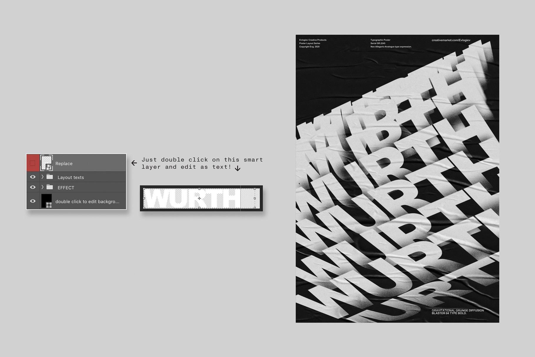 20款创意抽象主视觉海报标题特效字体设计智能贴图样机模板 Typographic Poster Layouts No.01插图(7)
