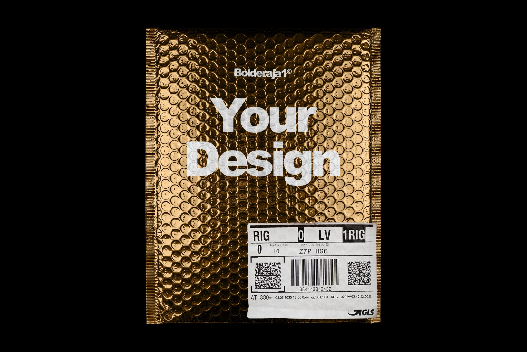 潮流金属铝箔气泡防震邮寄包装袋设计智能贴图样机模板 Gold Plastic Bag Mockup插图