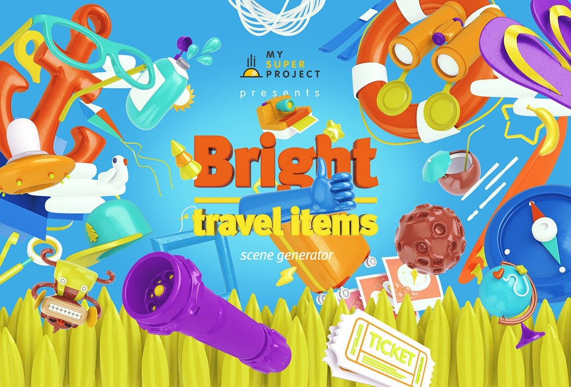 趣味卡通3D立体旅行主题场景元素海报设计智能贴图PSD样机素材 Bright Travel Items Scene Generator插图