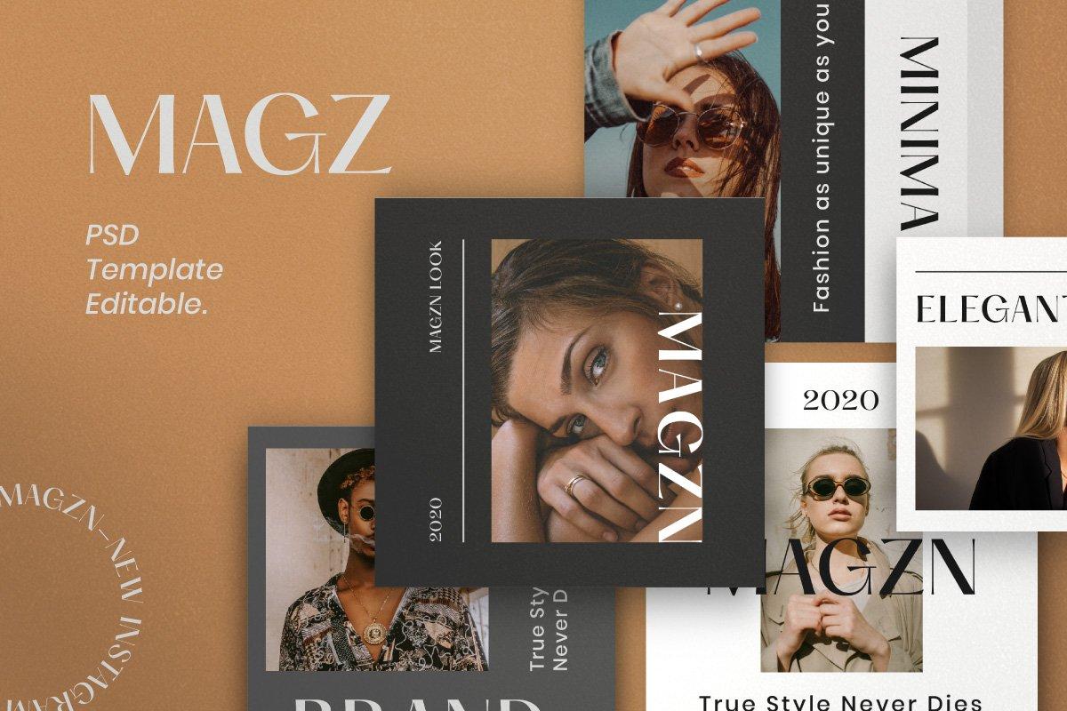 时尚服装品牌摄影推广新媒体海报设计PSD模板 MAGZ – Fashion Brand Social Media插图