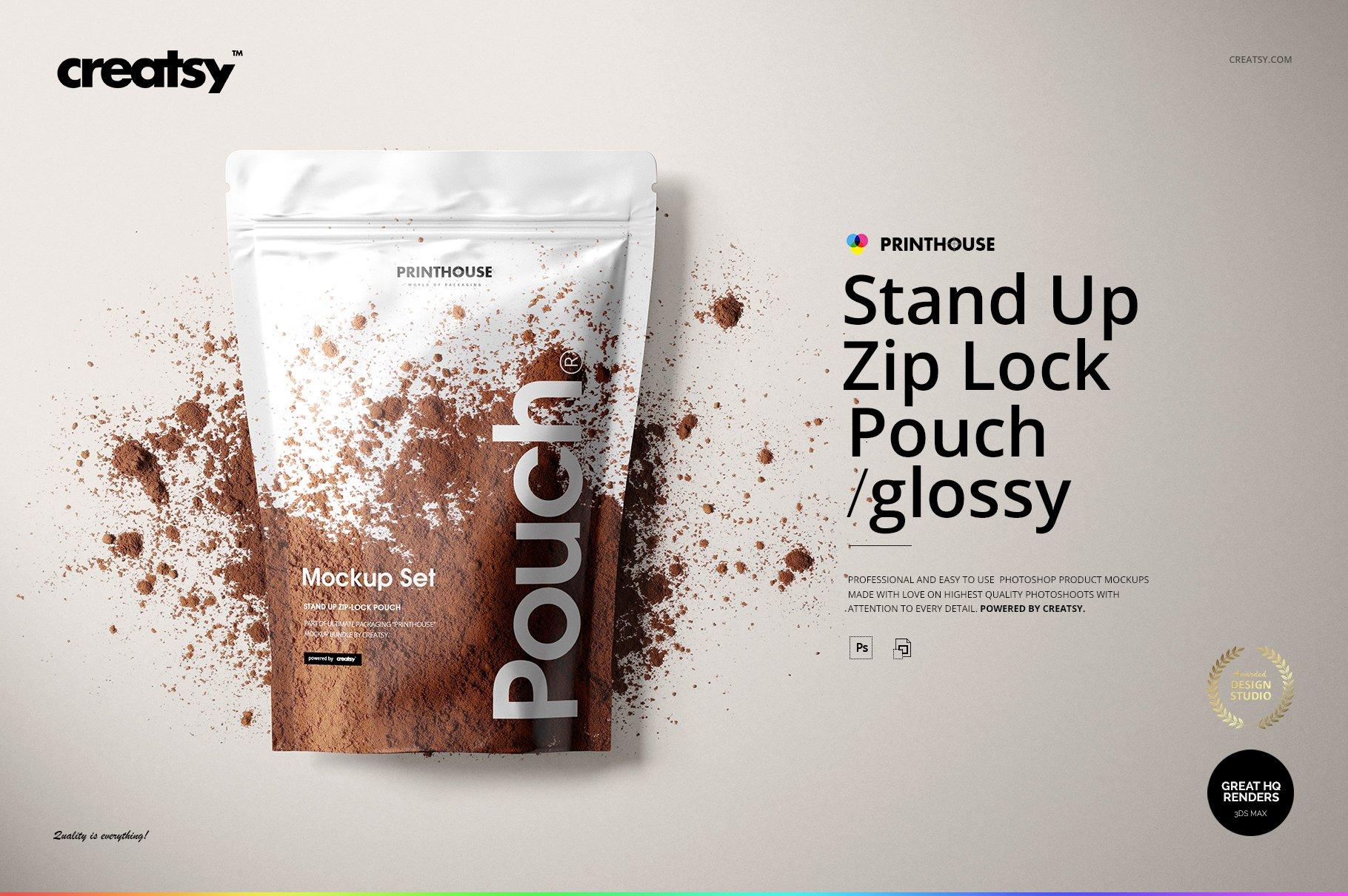 铝箔自立袋自封袋包装袋多角度PSD样机模板 Stand Up Pouch Mockup插图