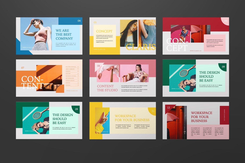 [淘宝购买]现代极简女装品牌摄影作品集设计Keynote演示文稿模板 CLARIS Pastel Keynote Template插图(1)