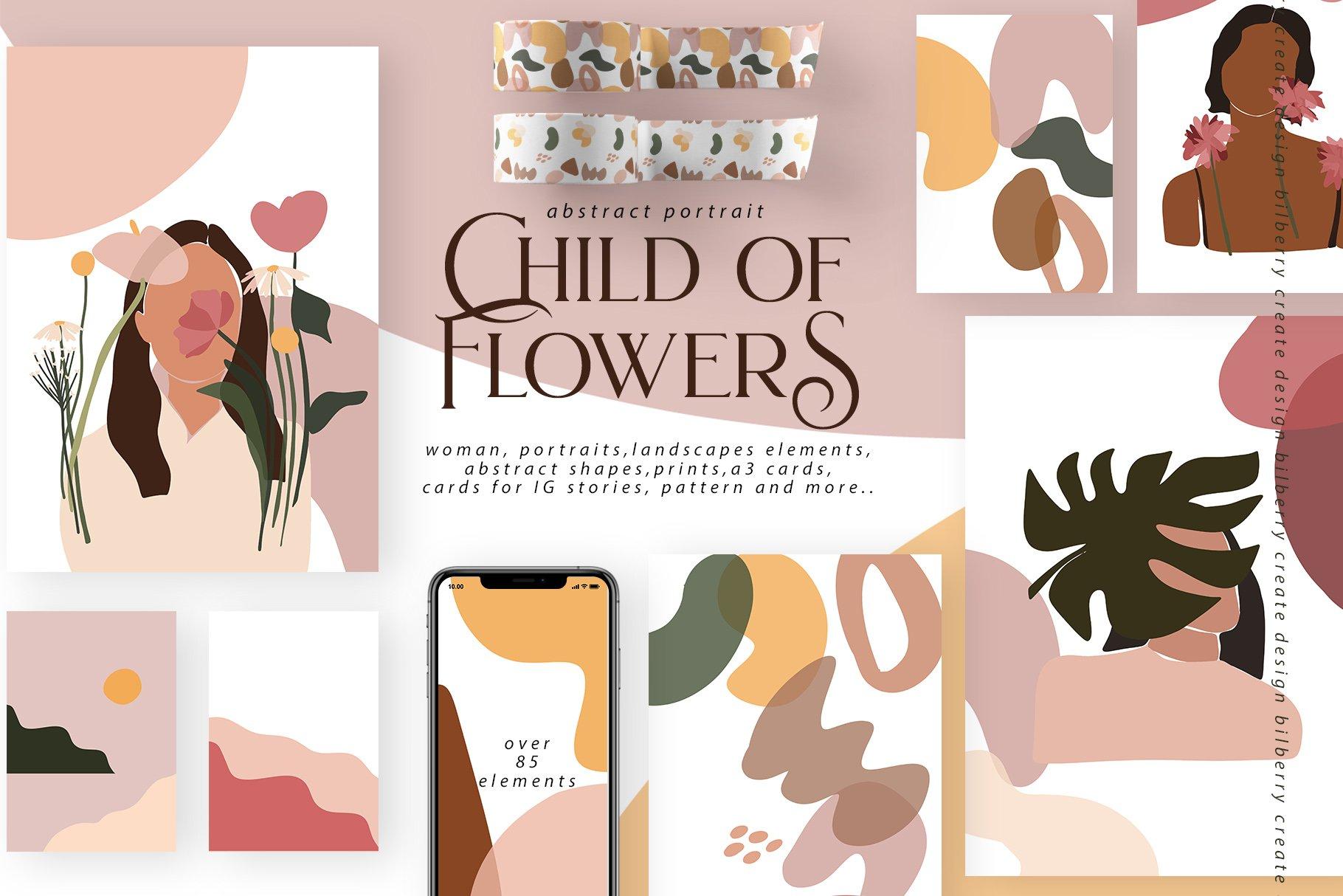 85多个抽象女孩风景形状矢量图案素材 Child Of Flowers Abstract Portrait插图