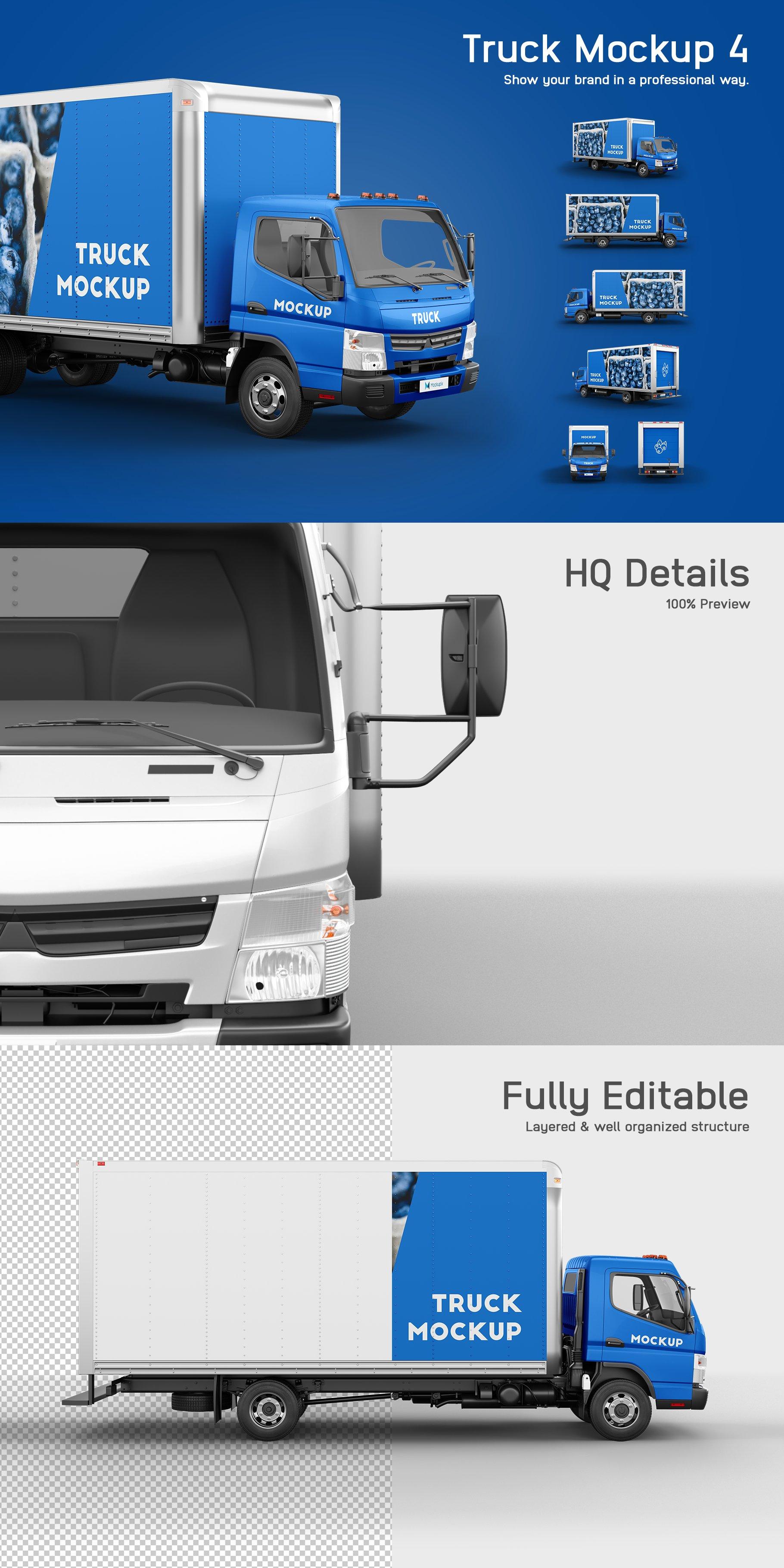 6款厢式货车卡车车身广告设计展示样机 Truck Mockup 4插图