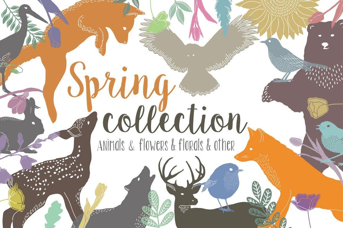 147款春天主题动物植物纹理矢量素材 Spring Collection插图
